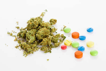 narcotic: illegal drugs. Narcotic drugs. Marihuana, drugs, pills, narcotic Stock Photo
