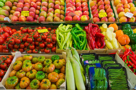 farmer's market  market: Fruits and vegetables at a farmers market.  Market stall with variety of organic vegetable Stock Photo