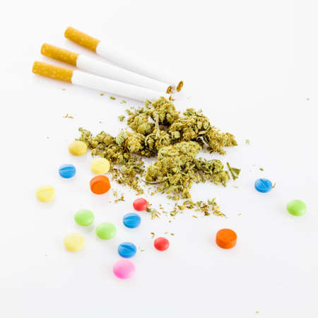illegal drugs: illegal drugs. Narcotic drugs. Marihuana, drugs, pills, narcotic Stock Photo