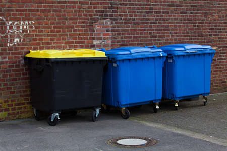 discard: Bins For Collection Of Recycle Materials. Plastic bins. Garbage containers