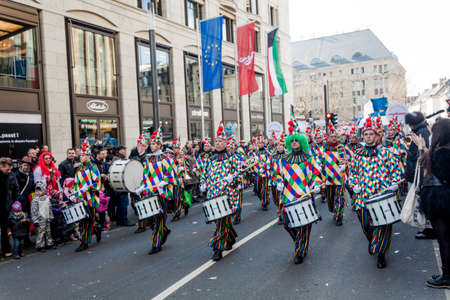 fasching: DUSSELDORF, GERMANY - MARCH 13, 2016: Shot at Carnival parade in city center on march 13, 2016 Dusseldorf, Germany Editorial