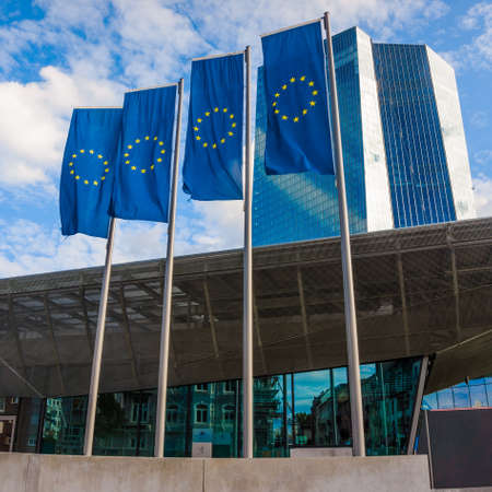 ecb: FRANKFURT AM MAIN, GERMANY - SEPTEMBER 19, 2015: New modern building of the European Central Bank, ECB in Frankfurt Editorial