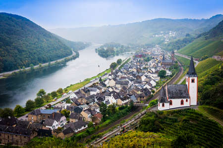 mosel: Landscape with the river Moselle in Germany. panorama of Moselle valley and Mosel Stock Photo