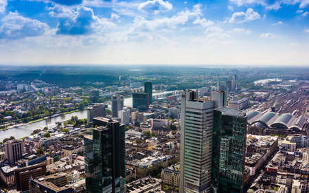 frankfurt stock exchange: FRANKFURT AM MAIN, GERMANY - SEPTEMBER 20, 2015: Aerial view of the central business district from the observatory deck of the Mian tower Editorial
