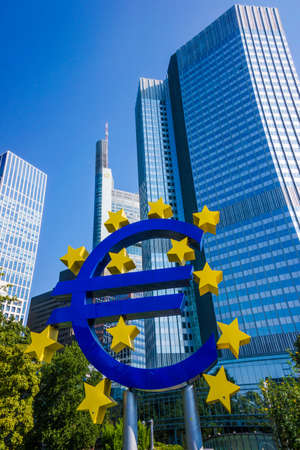 ecb: Frankfurt, Germany - SEPTEMBER 10 : Euro currency sign in downtown of Frankfurt near old headquarters of the European Central Bank or ECB. September 10, 2015 in Frankfurt, Germany