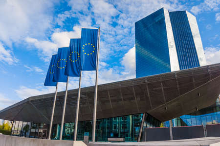 headquarters: FRANKFURT, GERMANY - SEPTEMBER 19 2015 : New headquarters of European Central Bank Editorial