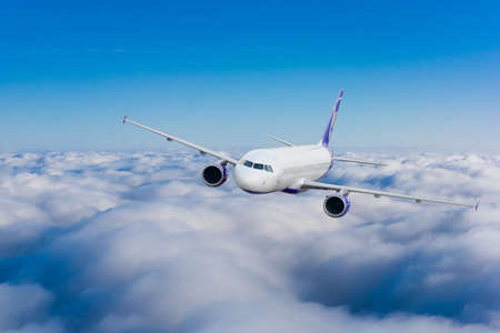 airliner: Airplane in the sky.  Passenger Airliner. Aircraft