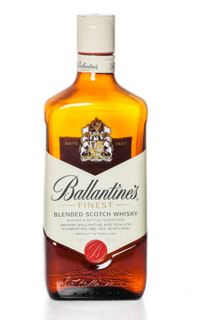 produced: DUSSELDORF, GERMANY - APRIL 08, 2016: Ballantines whisky isolated on white background. Ballantines is the worlds second highest selling scotch whisky, produced by Pernod Ricard in Dumbarton, Scotland