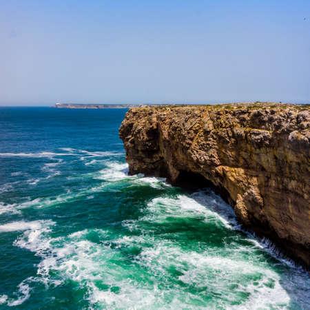 algarve: landscape at Sagres. Portugal.  Atlantic ocean .  Algarve Stock Photo