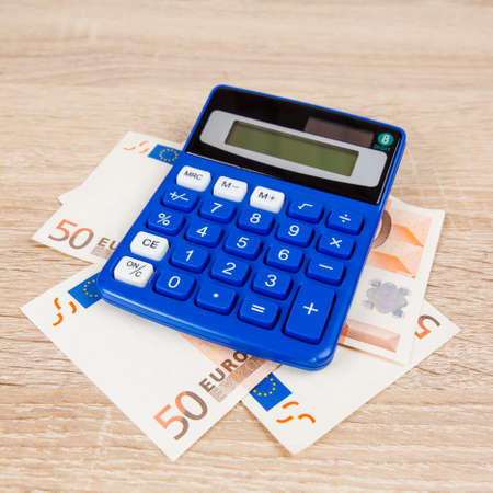 euro notes: Financial concept. Euro money. Euro notes with calculator