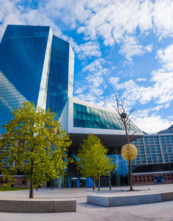 unemployment rate: FRANKFURT AM MAIN, GERMANY - SEPTEMBER 19, 2015: New modern building of the European Central Bank, ECB in Frankfurt Editorial