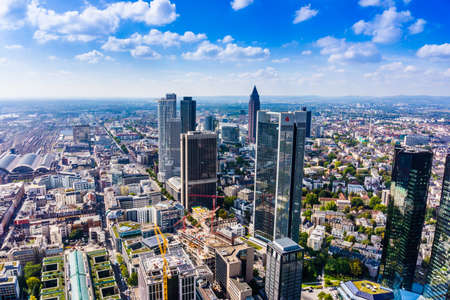 mian: FRANKFURT AM MAIN, GERMANY - SEPTEMBER 20, 2015: Aerial view of the central business district from the observatory deck of the Mian tower Editorial