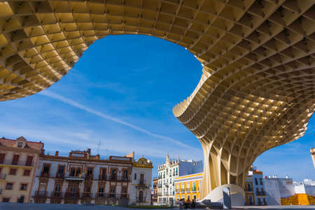 metropol parasol: SEVILLE, SPAIN - MAY 09: Metropol Parasol on May 09, 2011 in Seville, Spain. This  structure by Juergen Mayer-Hermann is in Plaza de la Encarnacion in old Seville