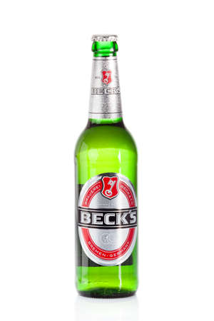 DUSSELDORF, GERMANY - APRIL 21, 2016: Becks beer isolated on white background. Becks brewery was founded in 1873 in Bremen, Germany