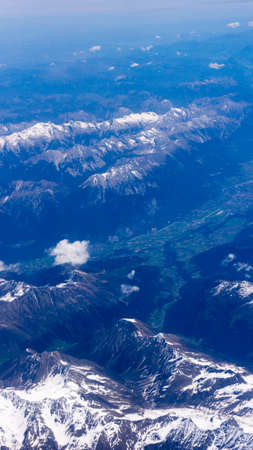 valley view: Landscape of Mountain. view from the airplane window Stock Photo