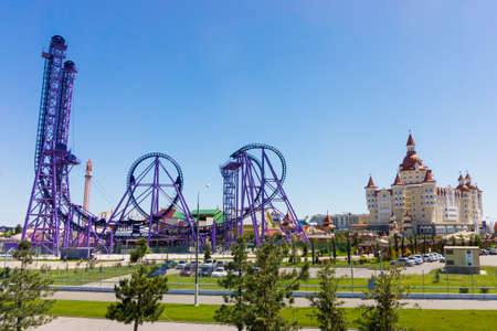 Rides Sochi Park  and a hotel complex  Bogatyr, Sochi, Russia, may 16, 2016 Editorial