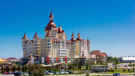 summer olympics: Rides Sochi Park  and a hotel complex  Bogatyr, Sochi, Russia, may 16, 2016 Editorial