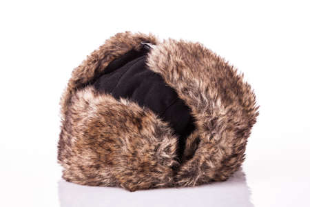 alaskan bear: Fur cap for winter weather. Fur cap for winter isolated on white background