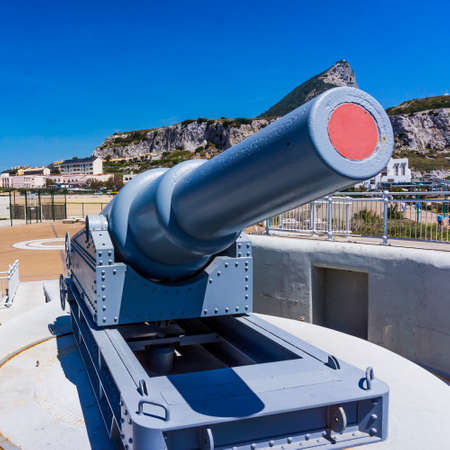 A view of a battery installed in Gibraltars Upper Rock, Gibraltar. exhibit guns in Gibraltar. Rule Britannia. Old cannon installed at Europa Point on Gibraltar