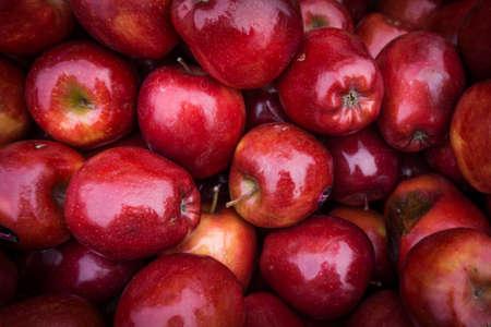 manzanas de cerca en el mercado. Fondo de manzanas rojas