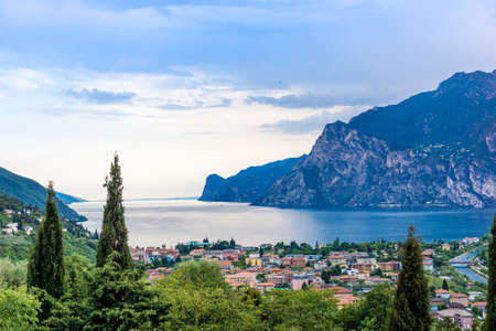 View of Riva Del Garda and Lake Garda, Lombardy, Italy Stock Photo