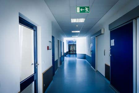 corridor in hospital. hospital hallway. hospital interior
