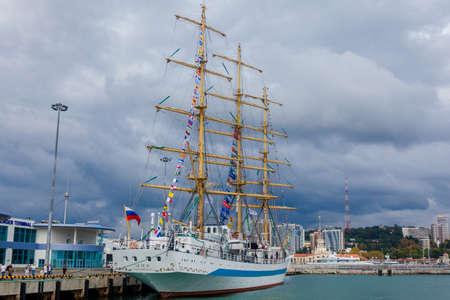 coil: RUSSIA, SOCHI - SEPTEMBER 21, 2016 :SCF Black Sea Tall Ships Regatta 2016. Organised by Sail Training International Editorial