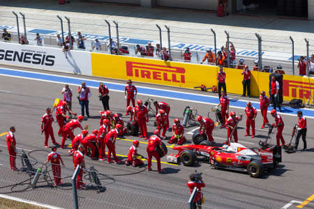 SOCHI, RUSSIA - JULY  31, 2016: Pit stop of Formula 1 car in Ferrari Racing Days in Sochi  Park Racing. The first Ferrari Racing Days event in Russia