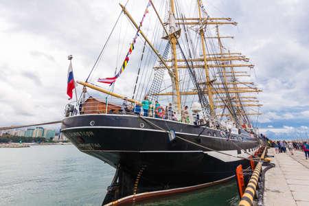 Sail ship Kruzenshtern in port of Sochi on September 21, 2016 in Sochi, Russia Editorial