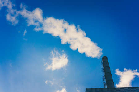 atmosphere: Smoke from smokestack.  Smoke atmosphere emission. Dirty smoke on the sky, ecology problems