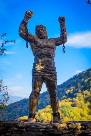 Top of the Eagle rocks, Sochi national Park.The sculpture of Prometheus.  Russia
