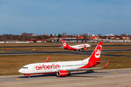jetplane: BERLIN, GERMANY - MARCH 22, 2015: AirBerlin Airbus  take off from Berlin-Schoneveld airport