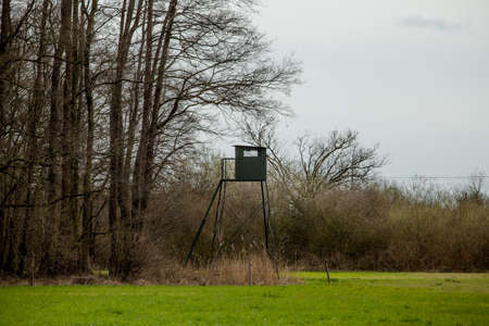 hunters tower: wildlife observation point. Shooting lodge.  Hunters high tower.