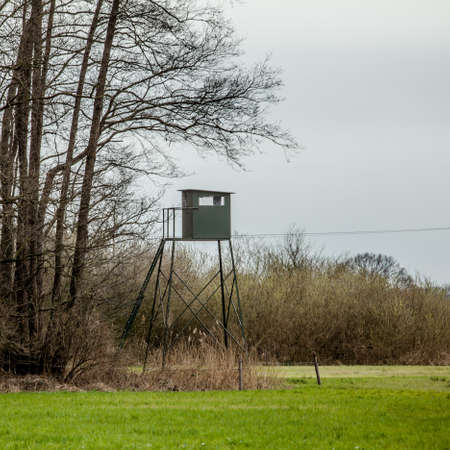 hunter's cabin: wildlife observation point. Shooting lodge.  Hunters high tower.