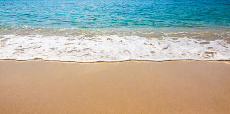 Blue Ocean Wave On Sandy Beach. Sand beach and tropical sea