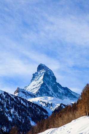 matterhorn: View of Matterhorn mountain. Matterhorn, Zermatt, Switzerland