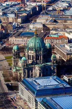 Aerial bird eye view of the city of Berlin Germany.  Berlin skyline