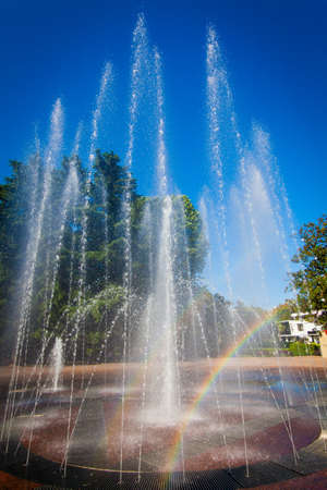 Sochi, Russia - water fountain.  View from street Navaginskaya Stock Photo