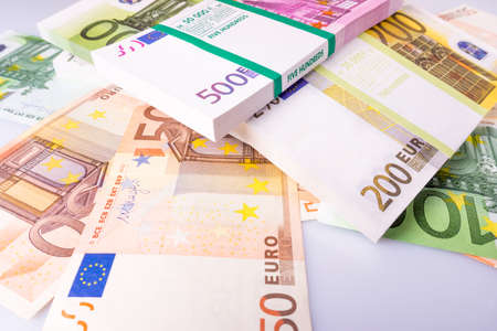 Euro Money Banknotes.  Euros money stack. Background with euro money. Cash euro