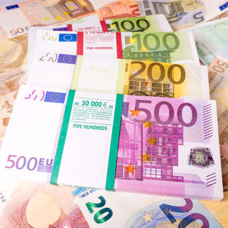 Euro Money Banknotes.  Euros money stack. Background with euro money. Cash euro