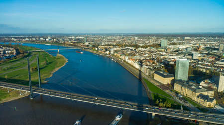 rhein: View of Rhein river from Rheinturm tower Dusseldorf Germany Europe