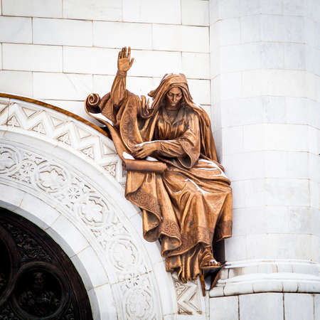 savior: Fragment of external furniture of a Christian temple of the Christ of the Savior in Moscow. Statues of Moscow Christ the Savior (Saviour) Cathedral
