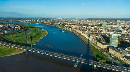 View of Rhein river from Rheinturm tower Dusseldorf Germany Europe