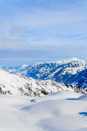france station: view of the Alps mountains in Switzerland.  Winter Landscape. Panorama Mountain Landscape