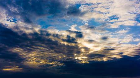 dramatic sky: Beautiful cloudy sky with sun rays. Dramatic sky with stormy clouds Stock Photo