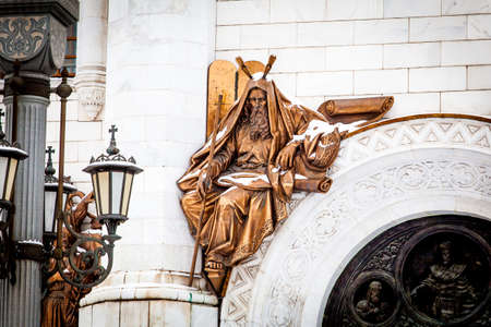 Fragment of external furniture of a Christian temple of the Christ of the Savior in Moscow. Statues of Moscow Christ the Savior (Saviour) Cathedral