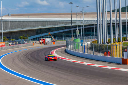 Sochi, Russia - July 31, 2016: Training races of the high speed car on the autodrom