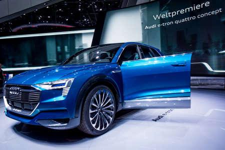 Frankfurt, Germany - September 22, 2015: Audi e-tron  concept car presented on display in Frankfurt. Germany