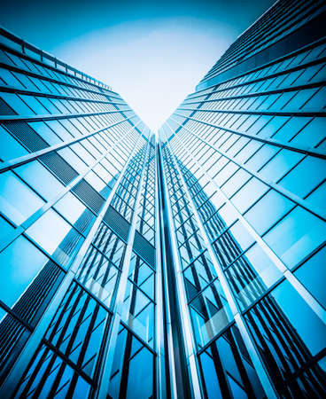 modern glass silhouettes of skyscrapers. Business building Standard-Bild