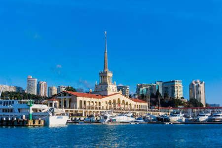 complex navigation: SOCHI, RUSSIA - 30 JANUARY, 2016. Sea Port of Sochi.